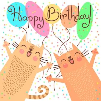Feliz aniversario cartão bonito com gatinhos engraçados.