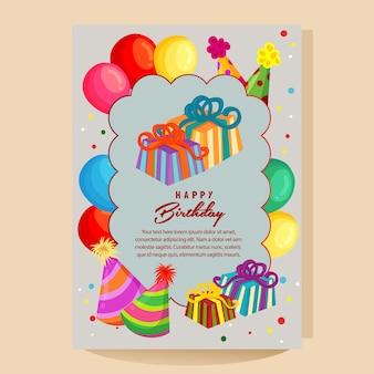 Feliz aniversário cartão colorido com chapéu de festa de balão