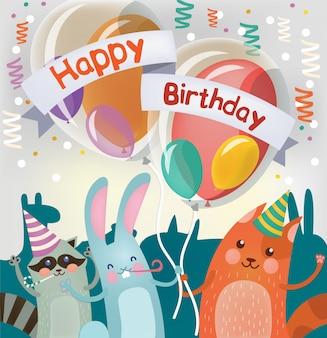 Feliz aniversário cartão com animais fofos para festa de crianças
