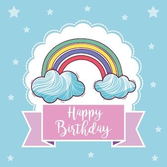 Feliz aniversário, cartão, com, arco íris