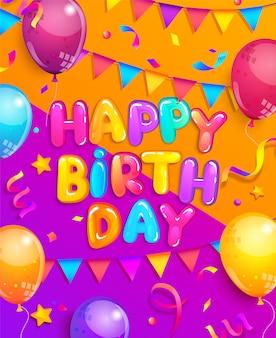 Feliz aniversário cartão com balão, bandeiras, confetes Vetor Premium
