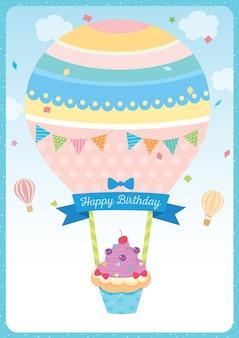 Feliz aniversário, cartão, com, balloon, cupcake