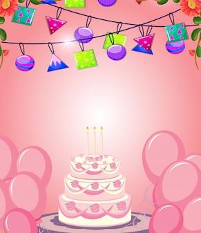 Feliz aniversário cartão com bolo e decoração