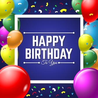 Feliz aniversário, cartão, com, coloridos, balloon