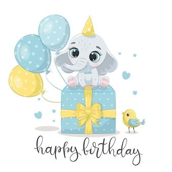 Feliz aniversário cartão com elefante.