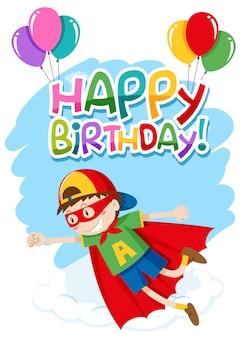 Feliz aniversário, cartão, com, herói, menino