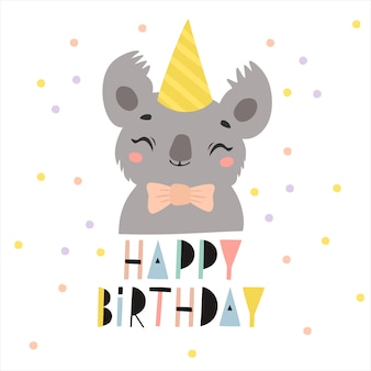 Feliz aniversário cartão com ilustração de coala em um boné