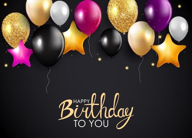 Feliz aniversário, cartão, com, lustroso, balões