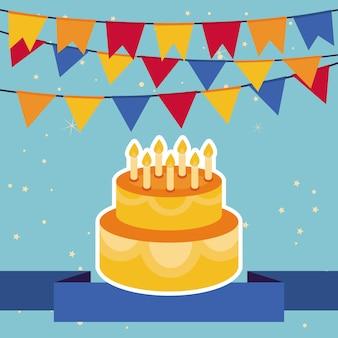 Feliz aniversário cartão com luzes brilhantes e aniversário