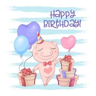 Feliz aniversario cartão com porco bonito com balões.