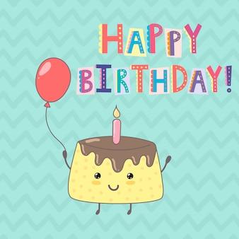 Feliz aniversário cartão com um bolo fofo