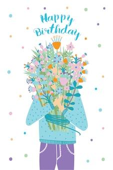 Feliz aniversário cartão. convidado com buquê de flores. ilustração, cartão postal dos desenhos animados.