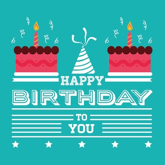 Feliz aniversário cartão convite bolos chapéu fundo verde