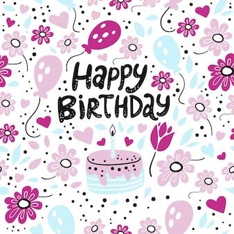 Feliz aniversario, cartão de aniversário bonito
