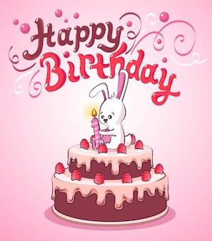 Feliz aniversário. cartão de aniversário. coelhinho no bolo de aniversário com uma vela acesa.