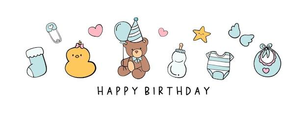 Feliz aniversário, cartão de aniversário com urso fofo.