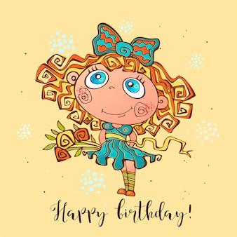 Feliz aniversário. cartão de aniversário para meninas na ocasião.