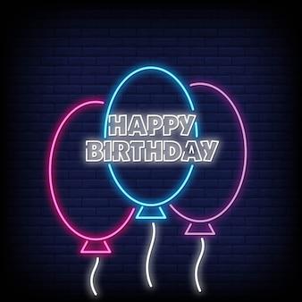 Feliz aniversário cartão de néon