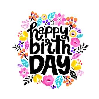 Feliz aniversário cartão de rotulação com decoração floral.