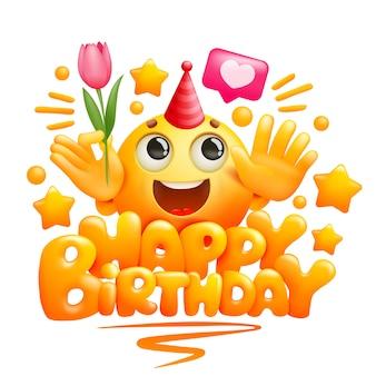 Feliz aniversário cartão modelo em estilo cartoon. personagem emoji amarelo com flor tulipa na mão