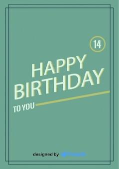Feliz aniversário cartão postal projeto do vintage