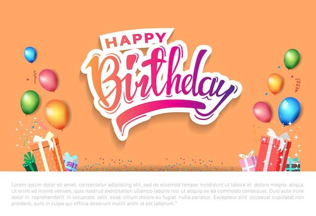 Feliz aniversário cartaz celebração ilustração com modelo de aniversário