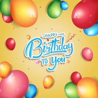 Feliz aniversário cartaz celebração ilustração