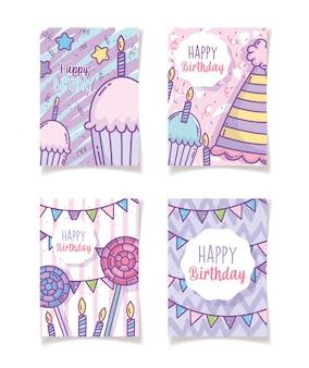 Feliz aniversário cartões decoração festa celebração