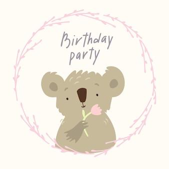 Feliz aniversário coala com flor