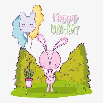 Feliz aniversário coelho fofo com balões e planta