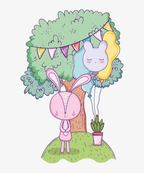 Feliz aniversário coelho fofo com banner de festa na árvore