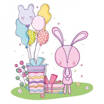 Feliz aniversário coelho fofo com presentes presentes e balões