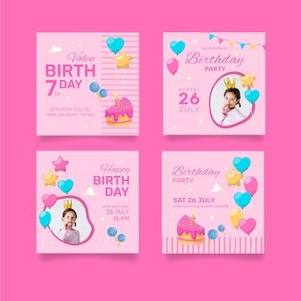 Feliz aniversário coleção de cartões