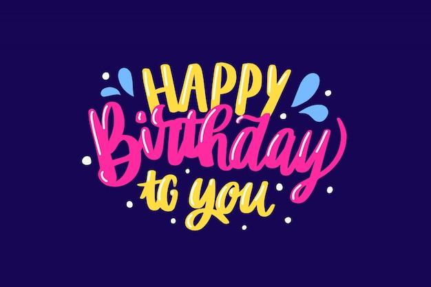 Feliz aniversário colorido letras