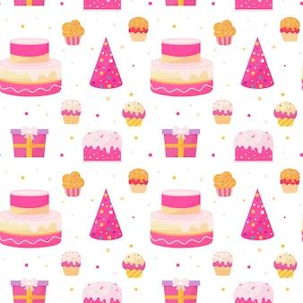 Feliz aniversário colorido padrão sem emenda