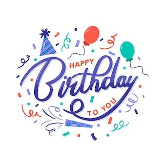 Feliz aniversário colorido para você saudação