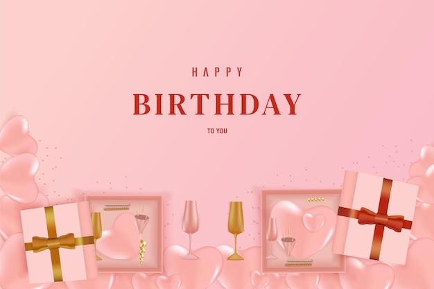 Feliz aniversário com a caixa abaixo com aberta