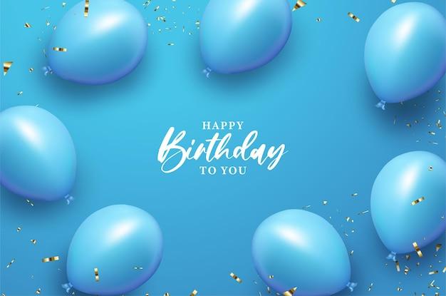 Feliz aniversario com balão azul