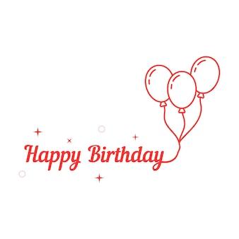 Feliz aniversário com balão de linha fina. conceito de carnaval, balão, balão, alegria, infância, evento, decoração de brochura, romântico. ilustração em vetor design de logotipo moderno tendência estilo plano no fundo branco