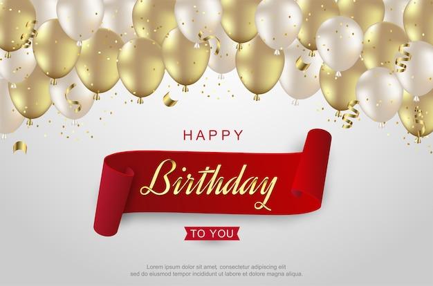 Feliz aniversário com balão dourado branco realista