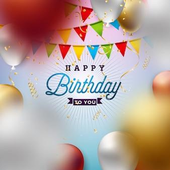 Feliz aniversário com balão, tipografia e confetes caindo.
