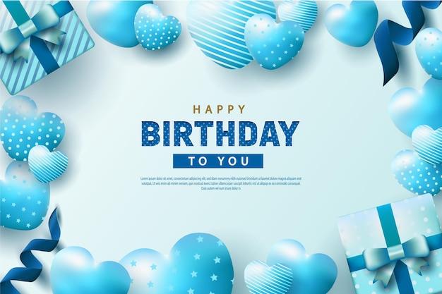 Feliz aniversário com balões azuis realistas