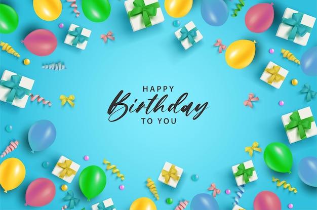 Feliz aniversário com balões coloridos e caixas de presente em fundo azul