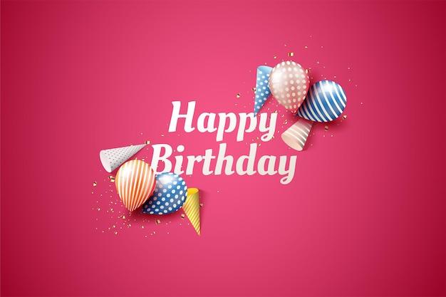 Feliz aniversário com balões coloridos e chapéu de aniversário.