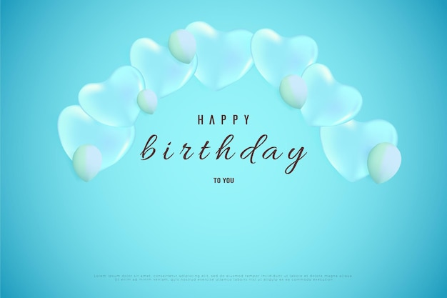 Feliz aniversário com balões de amor azuis curvando-se acima