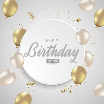 Feliz aniversário com balões dourados realistas em bakground prateado