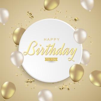 Feliz aniversário com balões dourados realistas