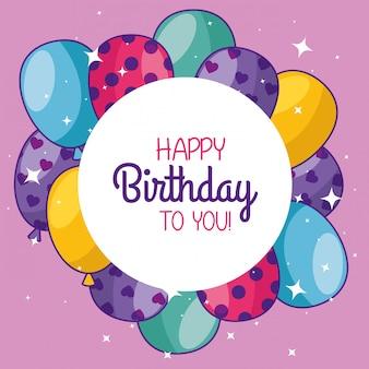 Feliz aniversário com balões e adesivo decoração