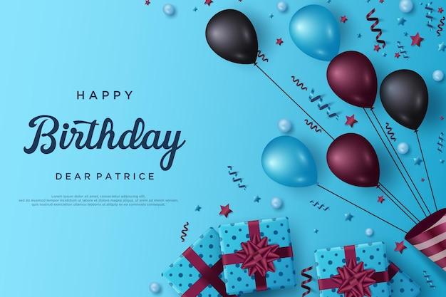 Feliz aniversário com balões e caixas de presente em fundo azul
