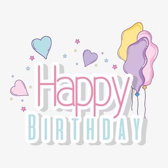 Feliz aniversário com balões e corações decoração